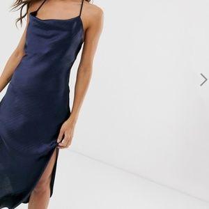 ASOS cami midi slip dress with cowl neck NWT